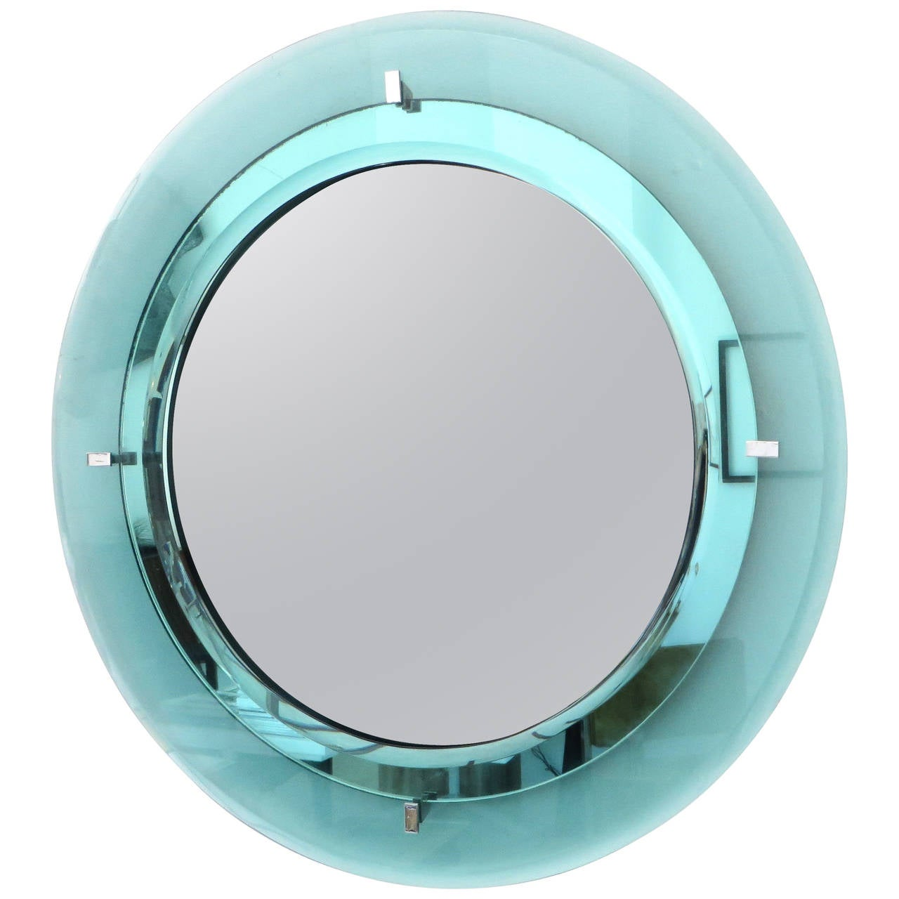 Pale Aqua Blue Italian Fontana Arte Round Beveled Mirror For
