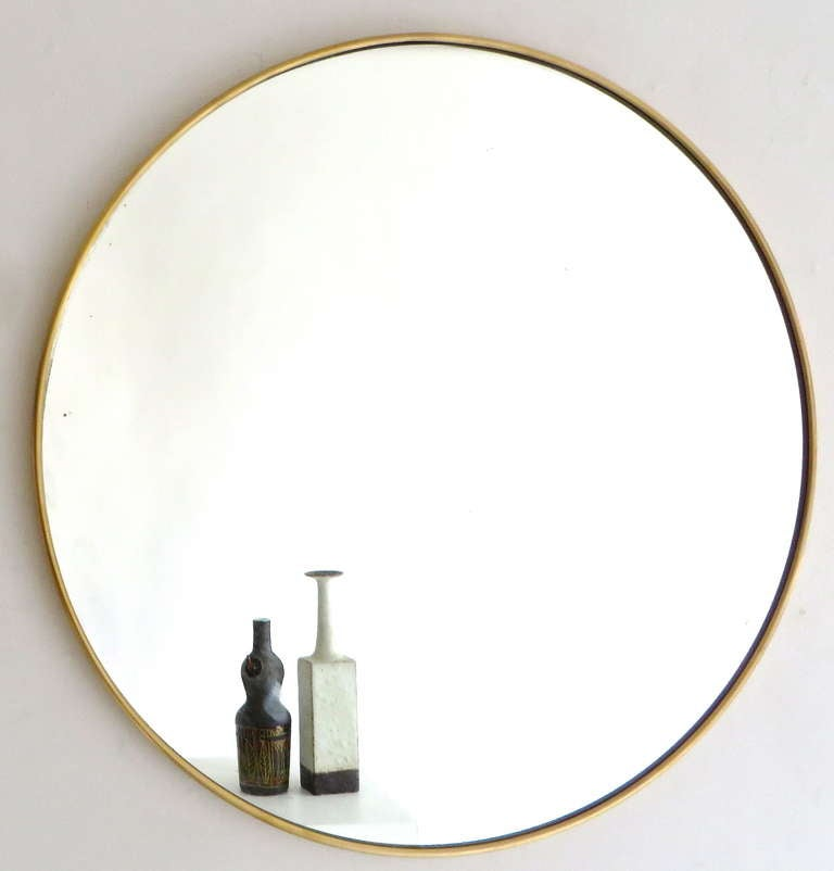 Italian modernist minimalist brass framed round mirror. Perfect condition.