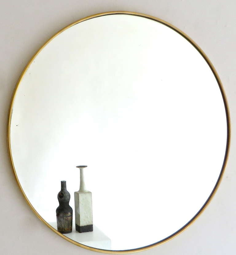 Italian modern minimalist round brass framed mirror at 1stdibs Round framed mirror