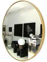 Italian Modern Minimalist Round Brass Framed Mirror image 3