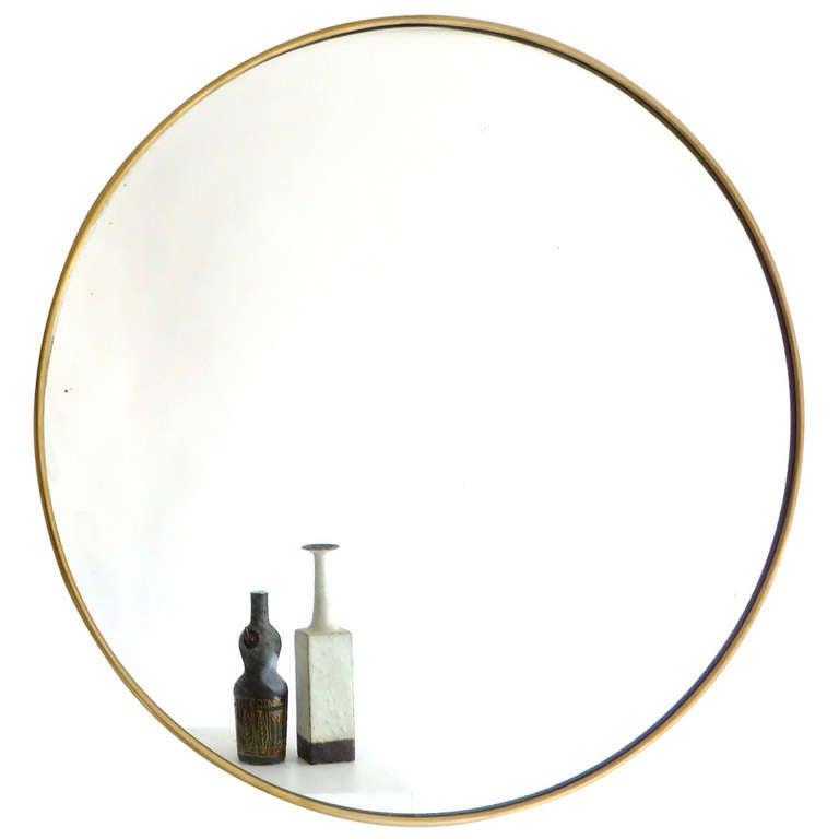 Italian Modern Minimalist Round Brass Framed Mirror