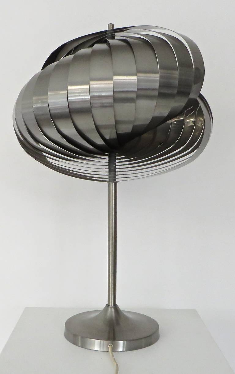 french spiral stainless steel table lamp by henri mathieu. Black Bedroom Furniture Sets. Home Design Ideas