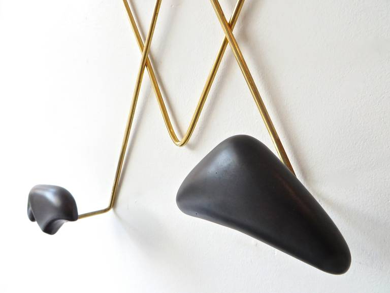 Mid-20th Century Wall-Mounted Coat Rack by Georges Jouve and Asselbur For Sale