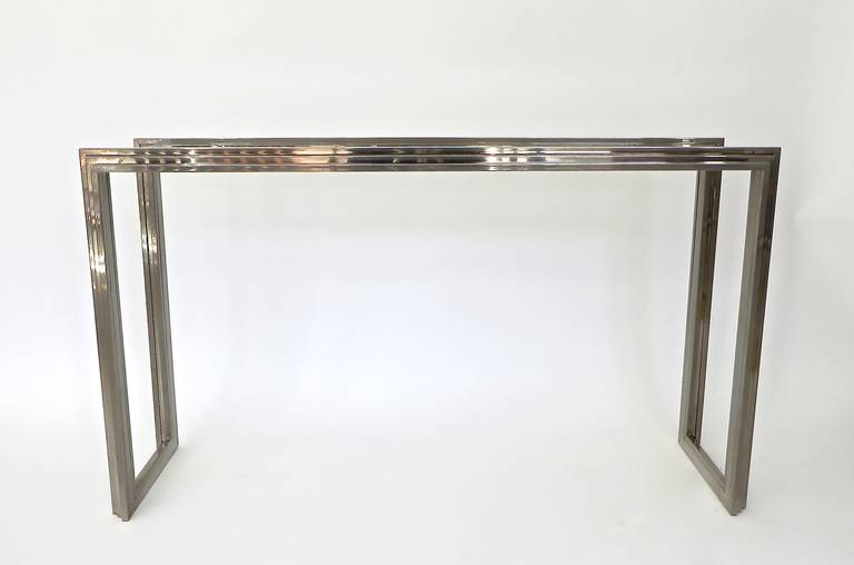 Elegant Italian Chrome Console by Romeo Rega with Glass Plateau In Excellent Condition For Sale In Chicago, IL