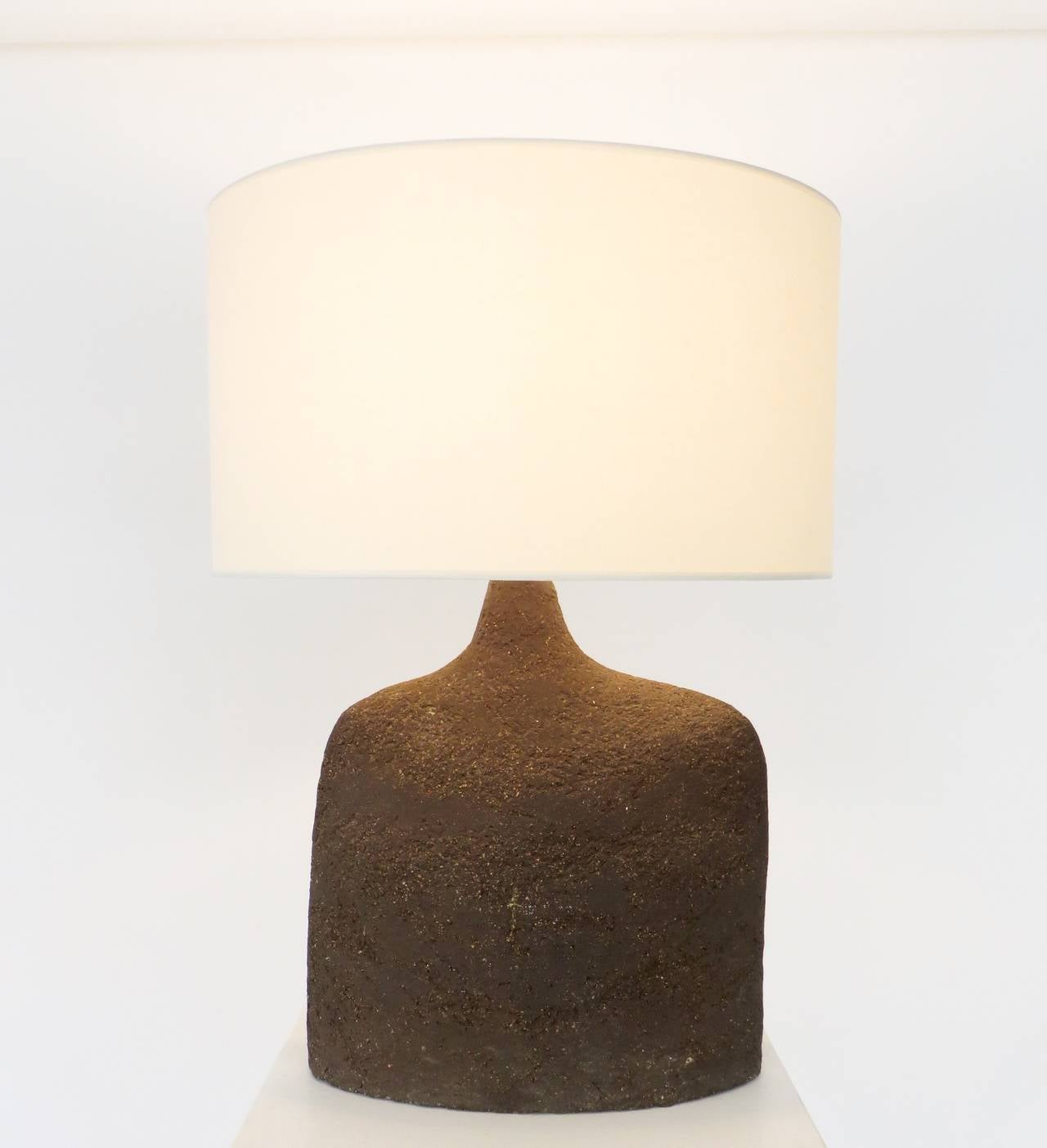 French Ceramic Table Lamp in Dark Brown Heavily Textured Clay at ... for Clay Lamp Design  186ref