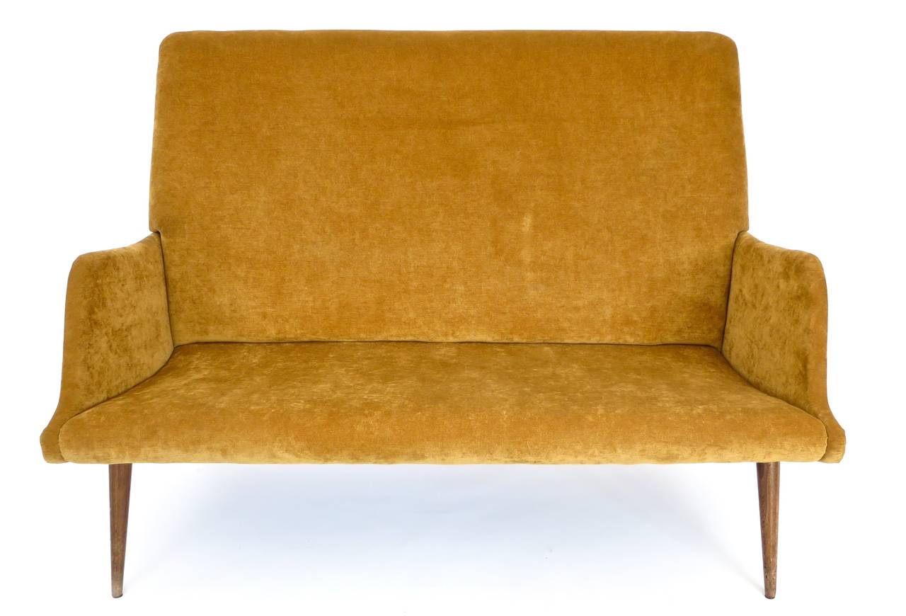 Mid-Century Modern High Back Italian Settee or Canape by Carlo di Carli For Sale