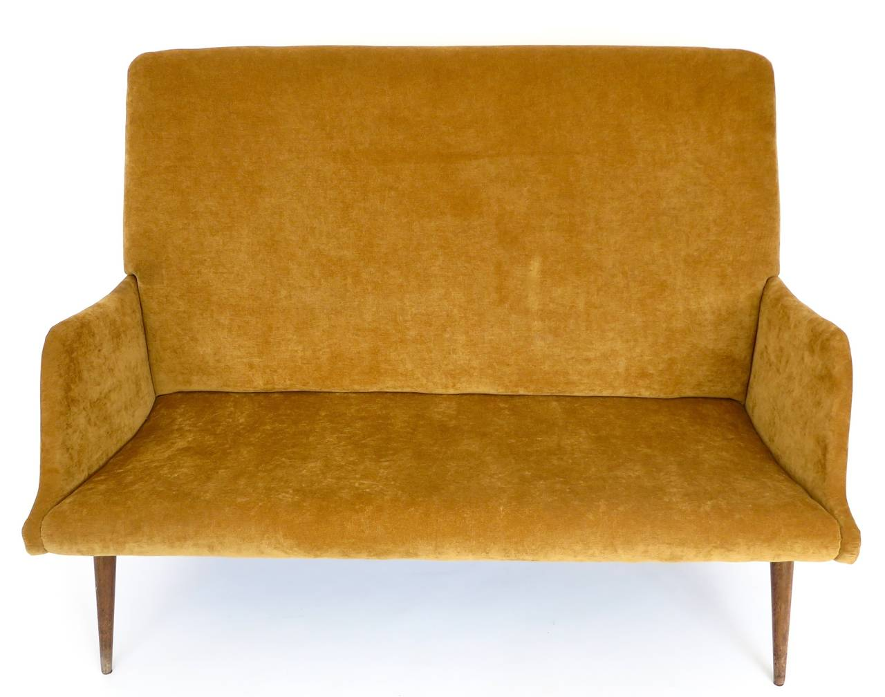 A high back settee by Italian designer, Carlo di Carli in the original upholstery in excellent condition with mahogany legs. Ready for new upholstery or use as is.