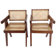 Pair of Office Dining Chairs by Pierre Jeanneret from Chandigarh