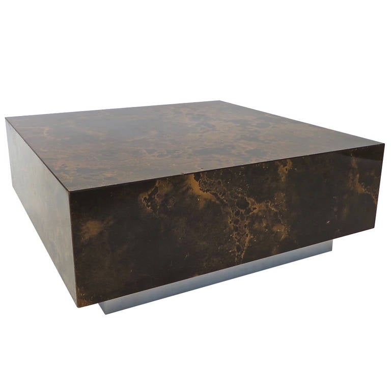 Floating Low Coffee Table By Guy Lefevre For Ligne Roset On Stainless Base At 1stdibs