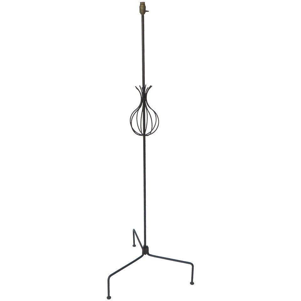 French Hand Wrought Iron Floor Lamp by Attributed to Rene Jean Caillette