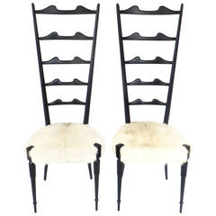 Two Italian Black Lacquer and Goatskin Seated High Back Chiavari Chairs