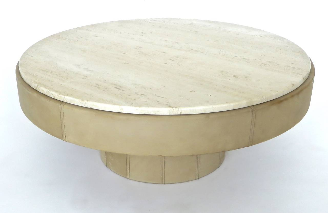 french cream leather and travertine marble round coffee