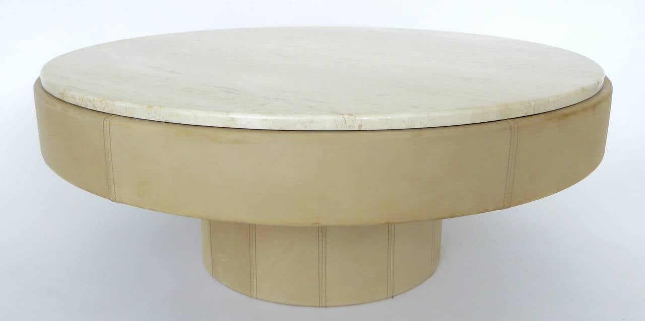 French Cream Leather And Travertine Marble Round Coffee Table At 1stdibs