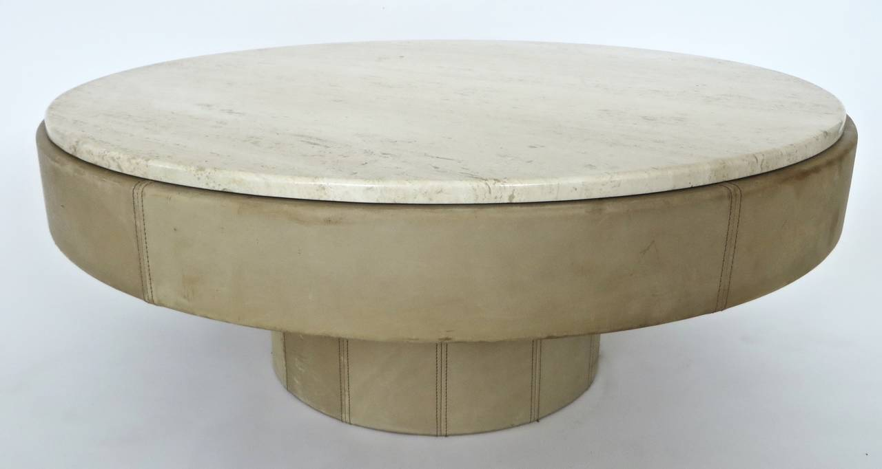 french cream leather and travertine marble round coffee table at