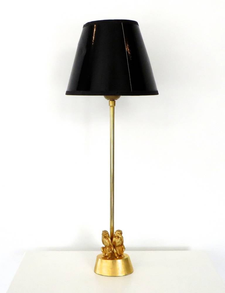 petite french gilded bronze table lamp with two monkeys. Black Bedroom Furniture Sets. Home Design Ideas