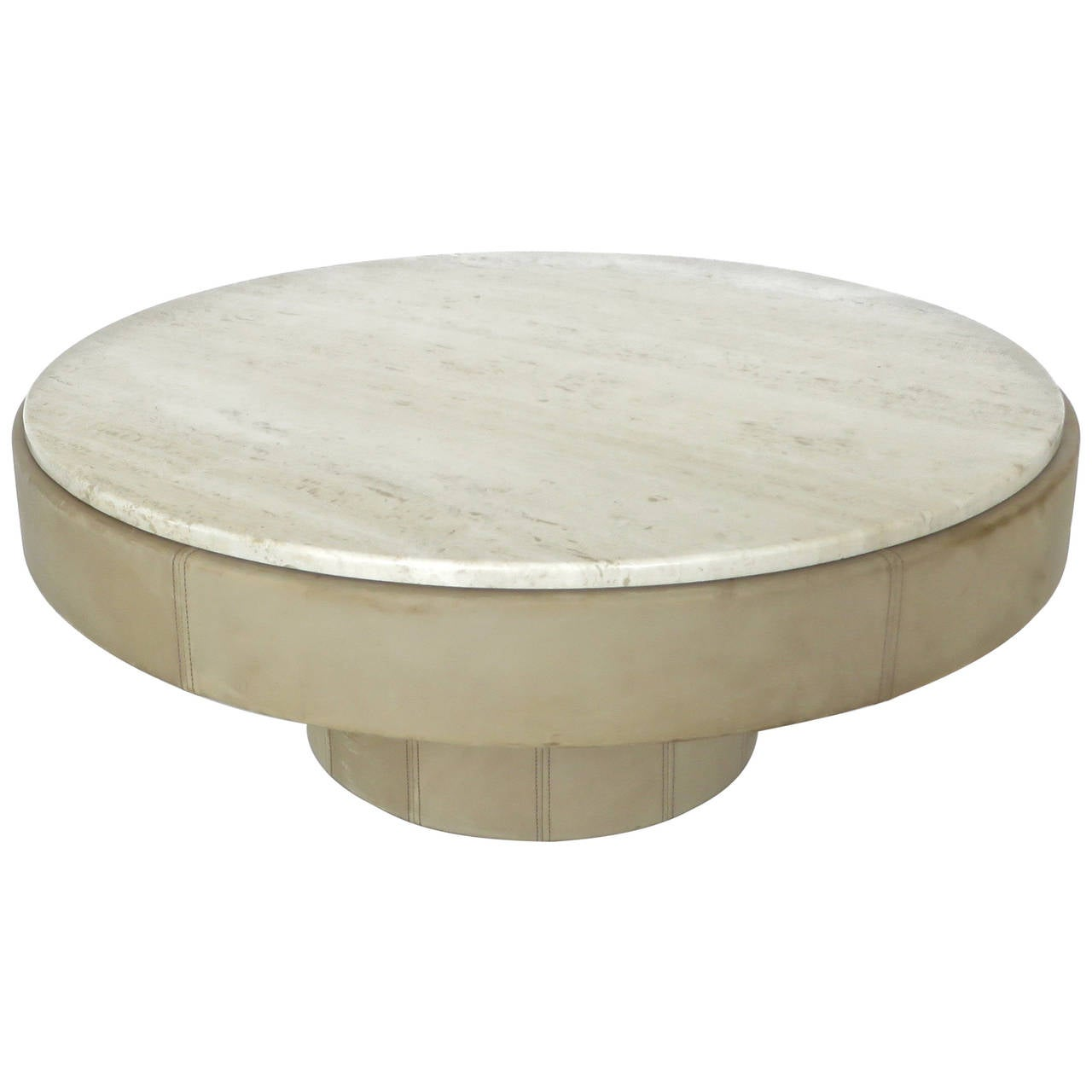 French cream leather and travertine marble round coffee table at 1stdibs Round marble coffee tables