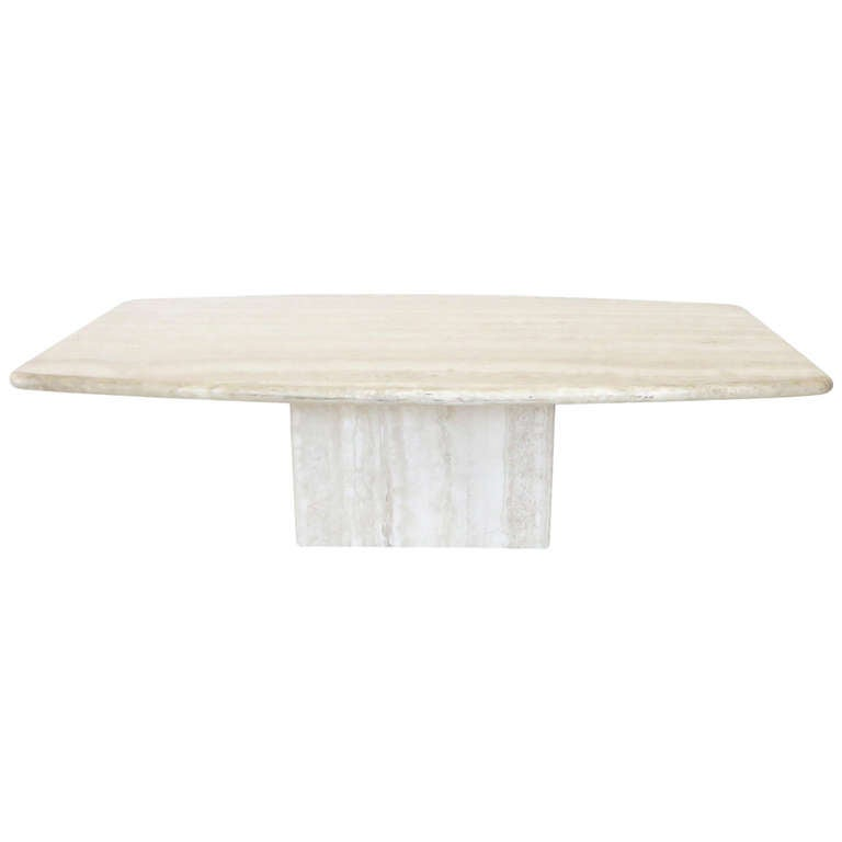 Italian Marble Coffee Table Top: Italian Travertine Marble Coffee Table In Two Parts By