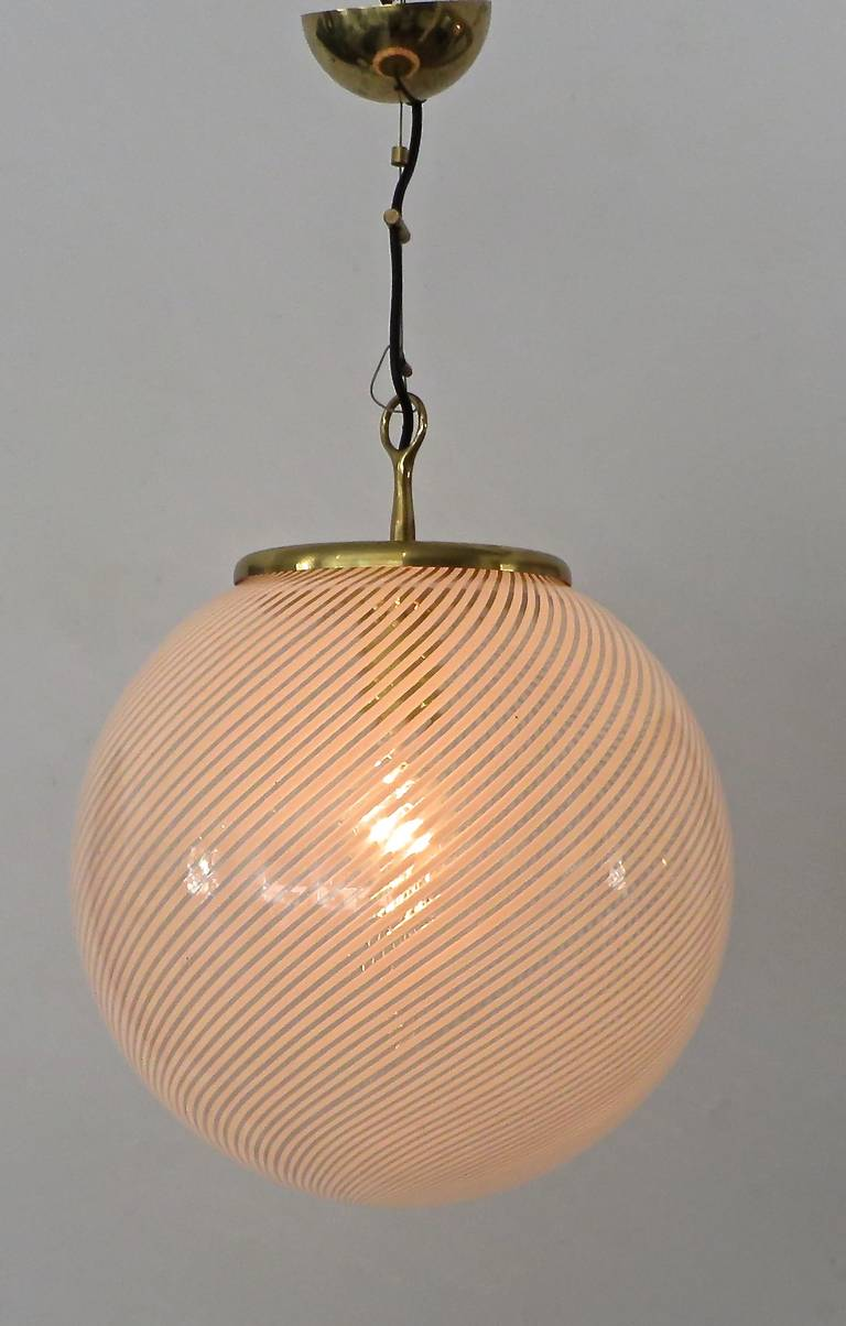 pendant lighting globes. Italian Murano Venini Glass Globe Pendant Chandelier In The Style Of Scarpa Excellent Condition For Lighting Globes