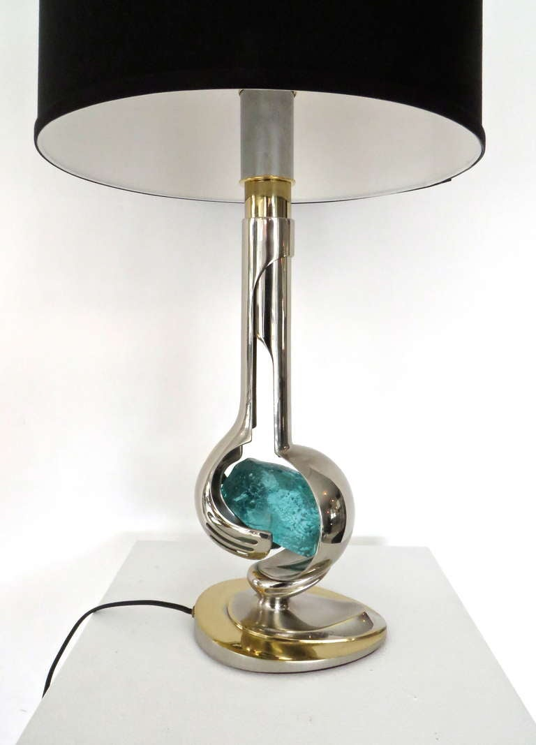 Glass French Brass and Nickel Chrome Table Lamp by Willy Daro For Sale