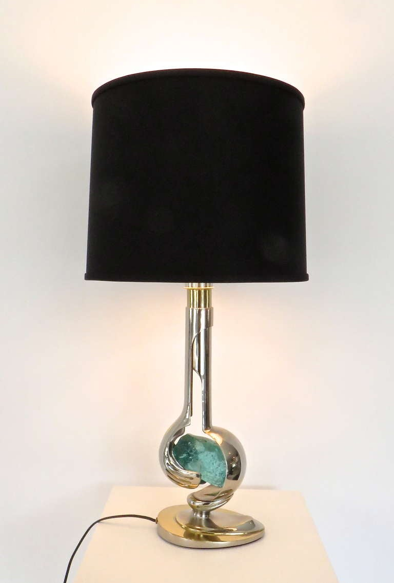 Mid-Century Modern French Brass and Nickel Chrome Table Lamp by Willy Daro For Sale