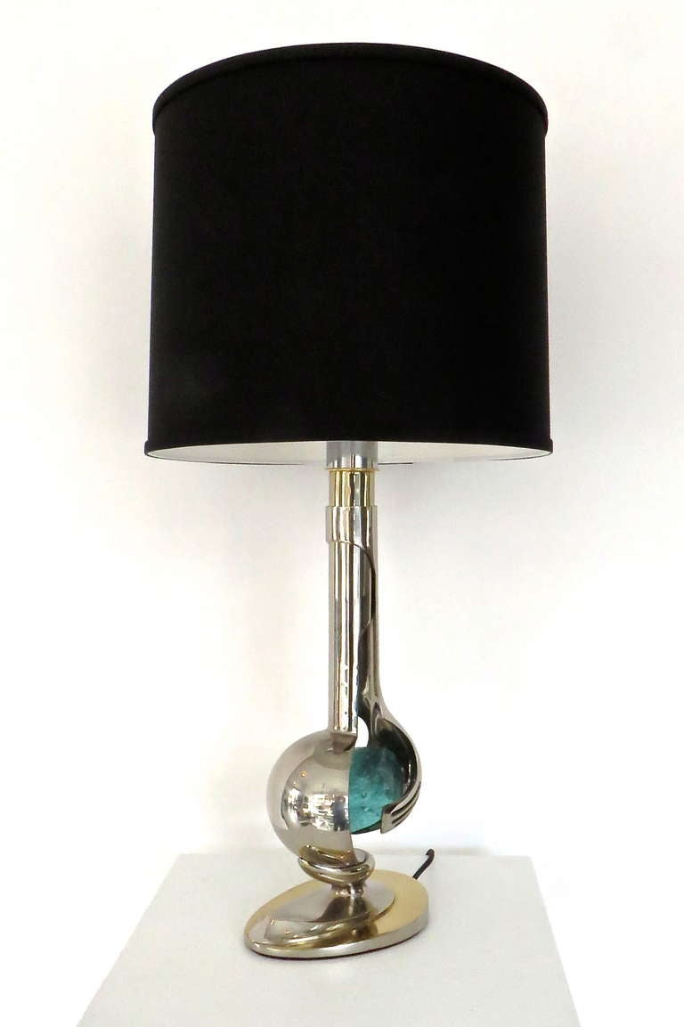 French Brass and Nickel Chrome Table Lamp by Willy Daro In Excellent Condition For Sale In Chicago, IL
