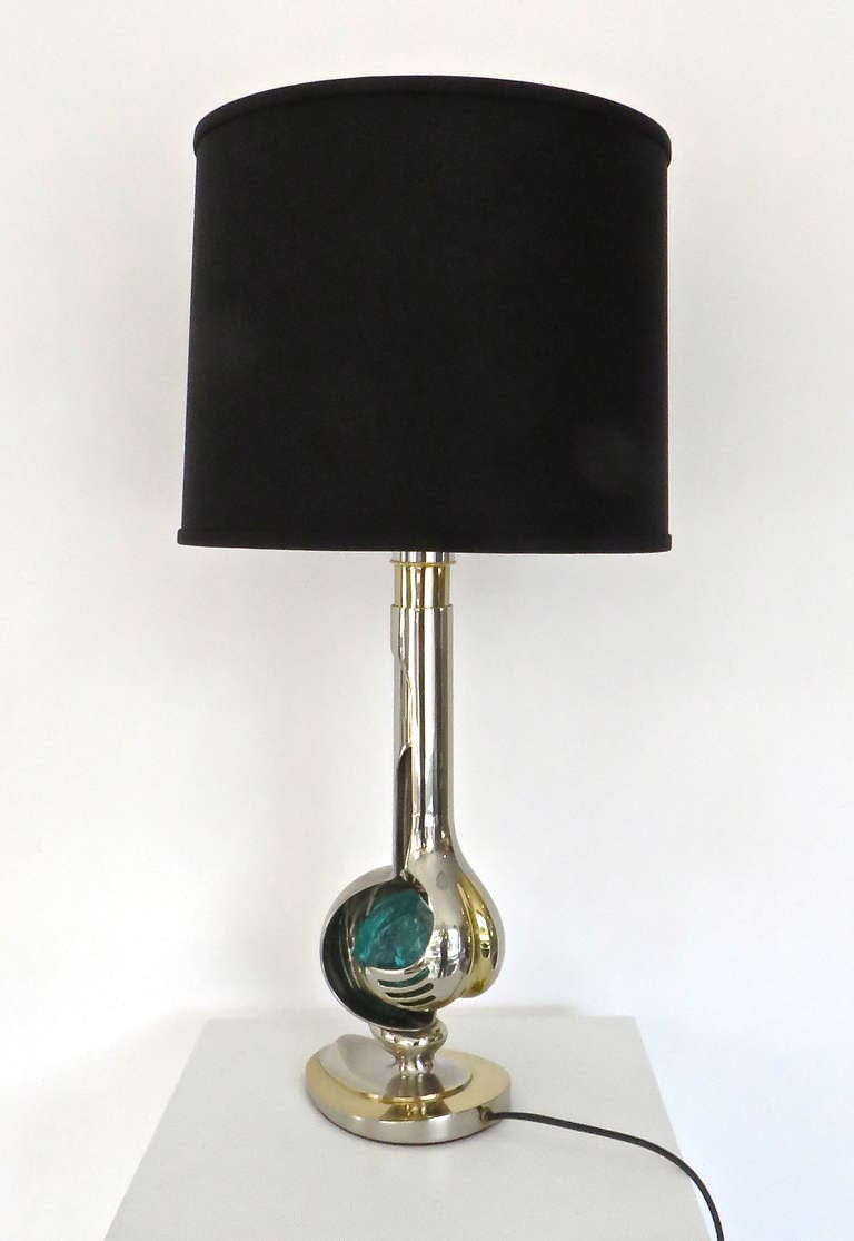 Late 20th Century French Brass and Nickel Chrome Table Lamp by Willy Daro For Sale