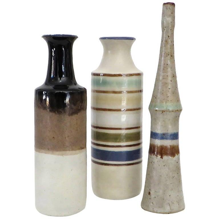 Three Small Italian Ceramic Bottles by Bruno Gambone