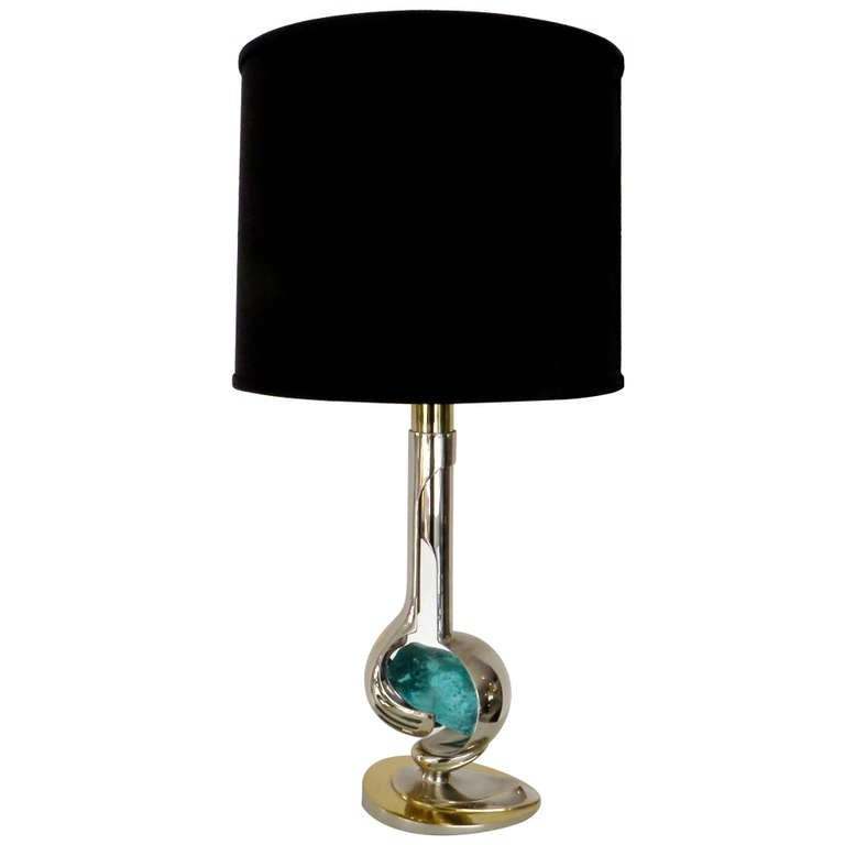 French Brass and Nickel Chrome Table Lamp by Willy Daro