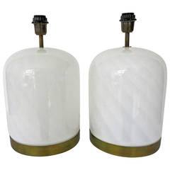 Pair of White Vistosi Murano Table Lamps with Brass Trim
