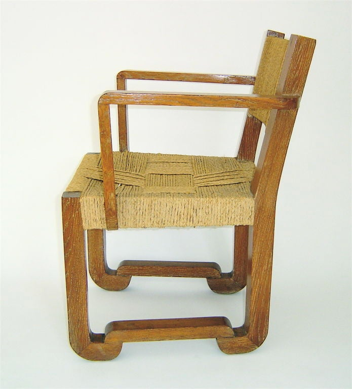 French Cerused Oak Chair Rope Seat Back By Audoux Minet By