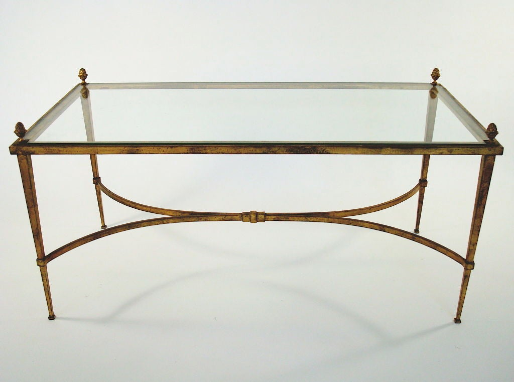 French Gilded Iron Pineapple Motif Glass Plateau Coffee Table At 1stdibs