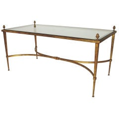 French Gilded Iron, Pineapple Motif, Glass Plateau Coffee Table