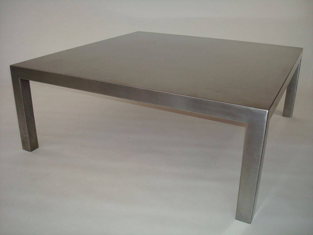 Maria pergay large square french stainless steel coffee table circa 1970 at 1stdibs Metal square coffee table