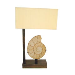 Nautilus Fossil and Bronze Table Lamp