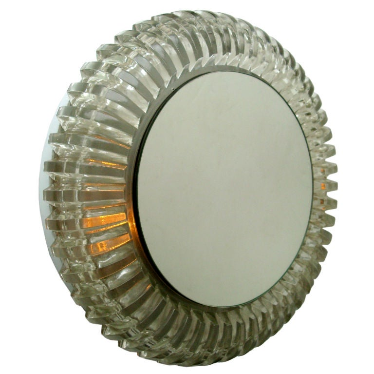 French Pressed Glass Wall Mounted Back Lighted Mirror by Maison Perzel