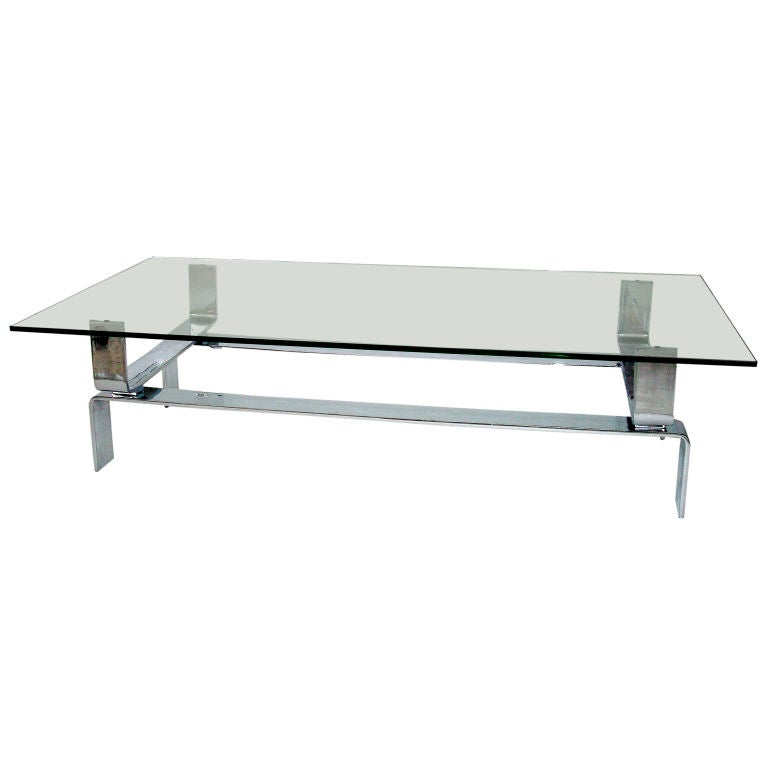 French Nickel Chrome Steel Coffee Table At 1stdibs