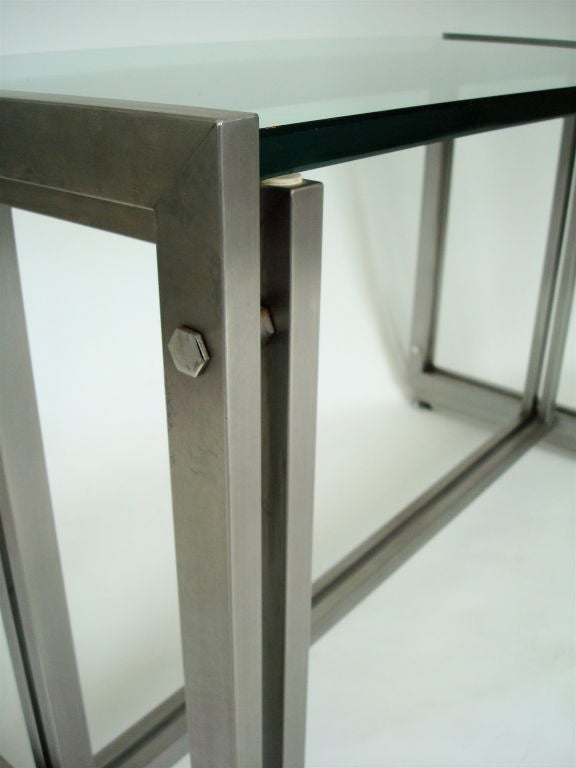 Late 20th Century French Steel Desk by Paul Le Geard for Maison Jansen Edition DOM For Sale