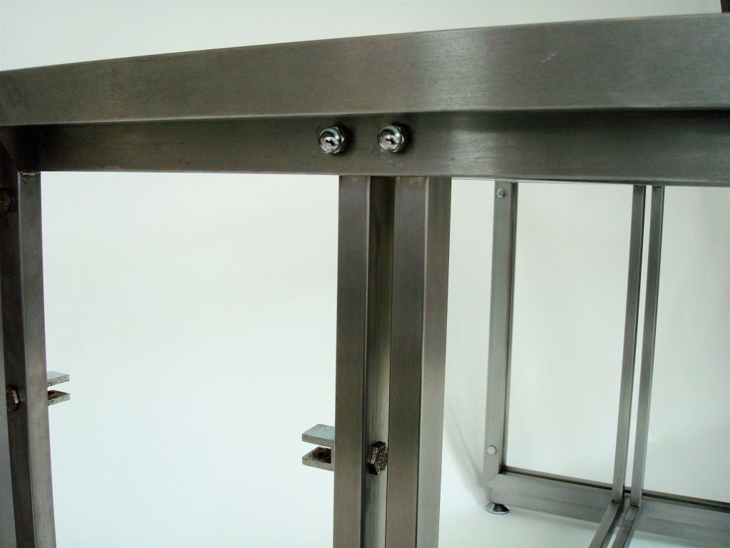 French Steel Desk by Paul Le Geard for Maison Jansen Edition DOM For Sale 3