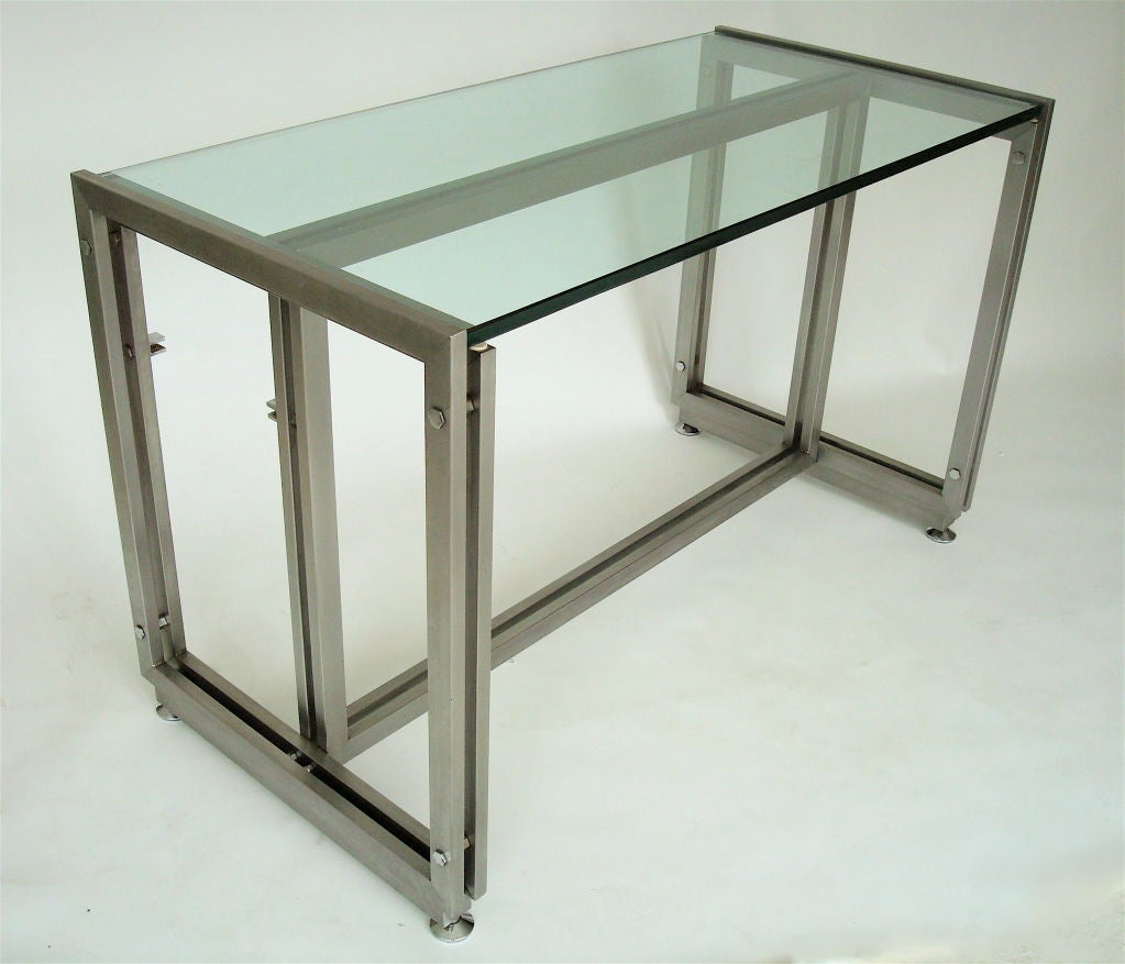 Wonderful French steel desk by Paul Le geard. Designed for Maison Jansen. Edition DOM. Measures: The glass is .75