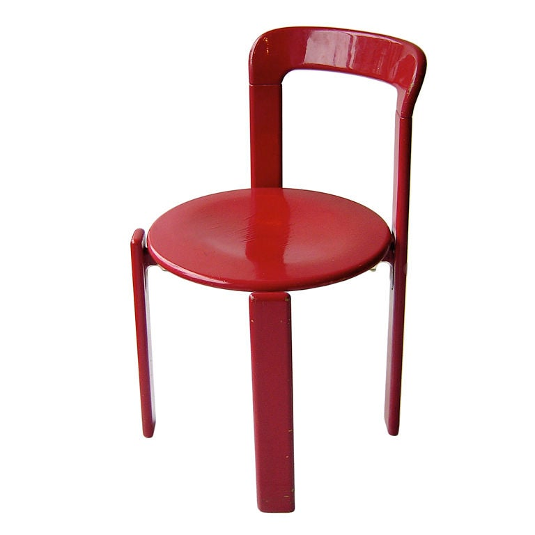 Red Lacquer Side Chair By Stendig At 1stdibs