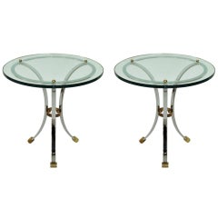 Pair of Side Tables With Glass Tops and Nickel Chrome Base by Maison Jansen