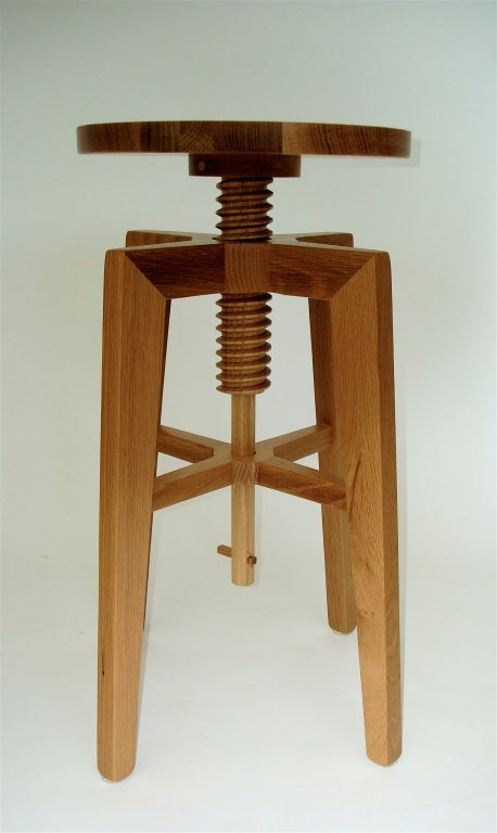 Contemporary Quarter Sawn American White Oak Stool At 1stdibs