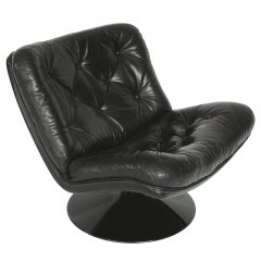 Tufted Black Leather, Fiberglass Swivel Lounge Chair by Harcourt
