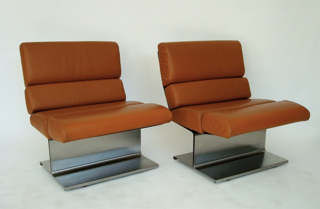 Pair of French Stainless Steel Lounge Chairs by Paul Geoffrey 4