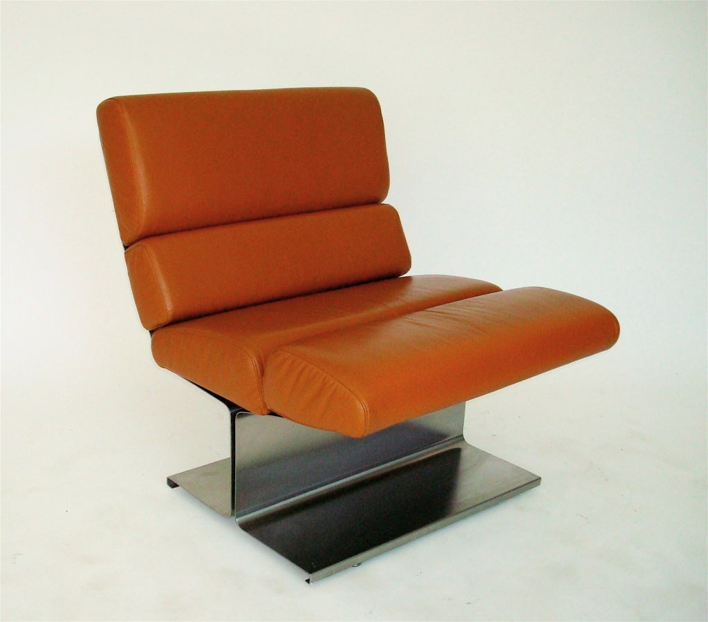 Pair of French Stainless Steel Lounge Chairs by Paul Geoffrey 3