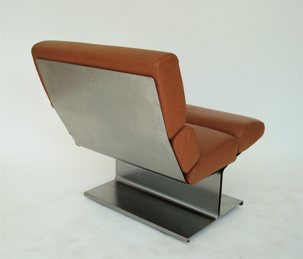 Pair of French Stainless Steel Lounge Chairs by Francois Monnet  For Sale 2