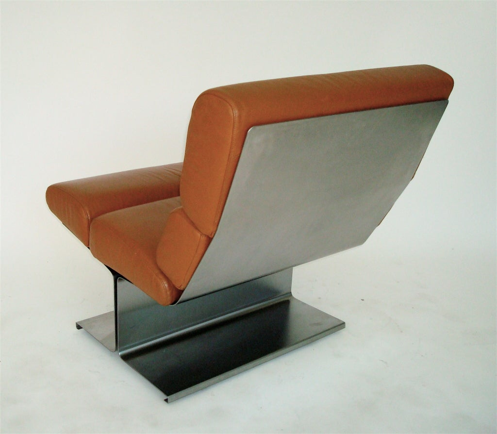 Pair of French Stainless Steel Lounge Chairs by Francois Monnet  For Sale 3