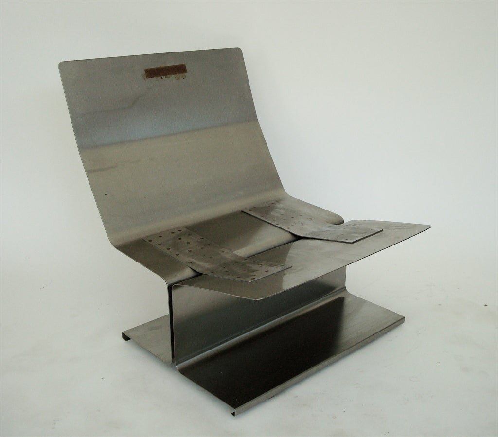 Pair of French Stainless Steel Lounge Chairs by Paul Geoffrey 9