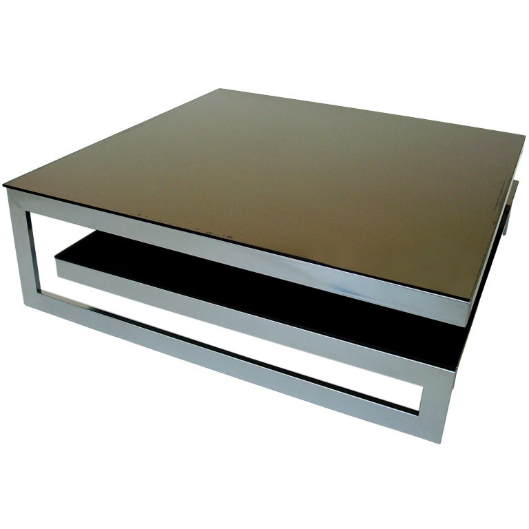 Large French Two Tier Coffee Table Powder Coated Silver Steel