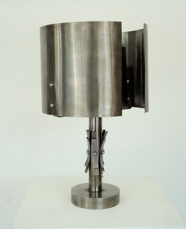french stainless steel table lamp at 1stdibs. Black Bedroom Furniture Sets. Home Design Ideas